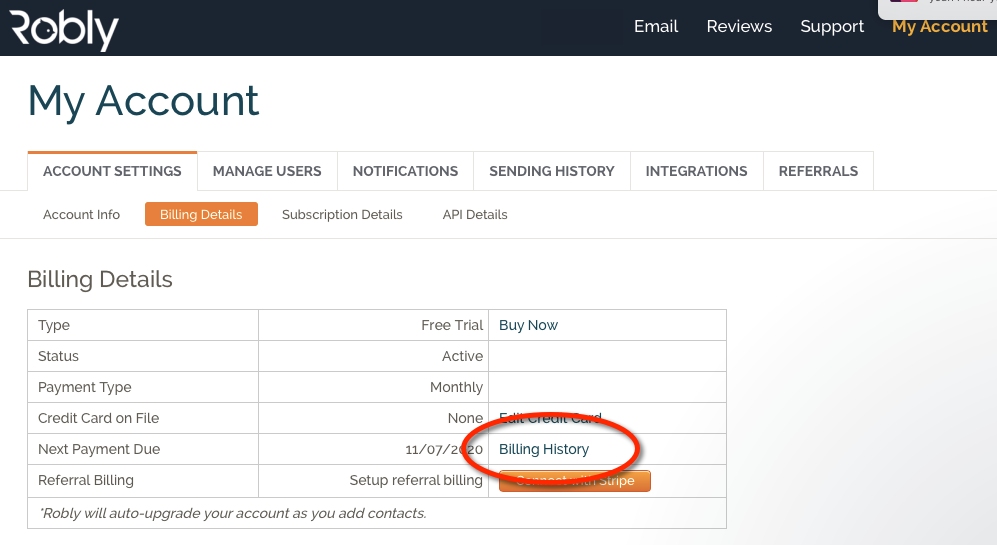 Where Can I Find My Billing History Robly Support